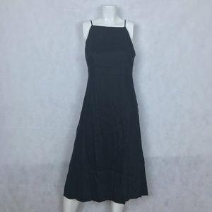 Ann Taylor Dress Black Midi Halter Linen Size 2